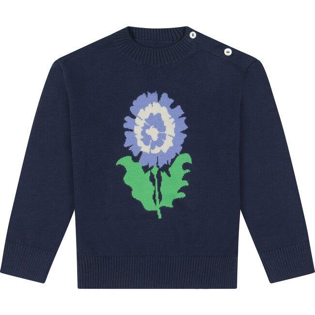 Peony Intarsia Cotton Sweater, Navy