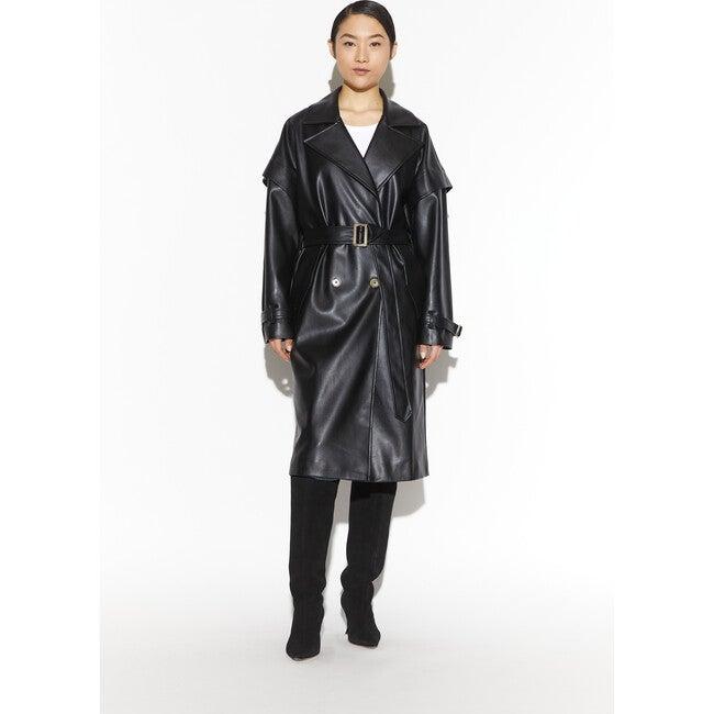 Women's Natalia Vegan Leather Trench, Noir
