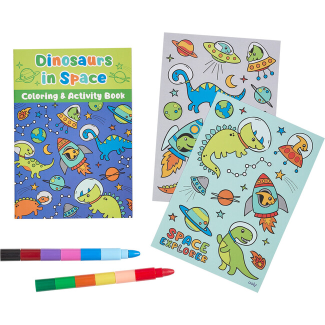 Mini Traveler Coloring & Activity Kit, Dinosaurs in Space