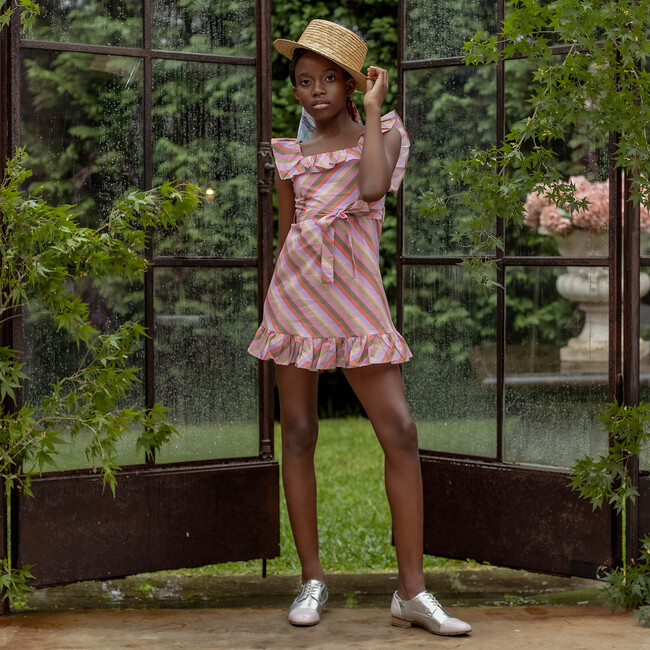 Briony Mini Cotton Dress, Stripe