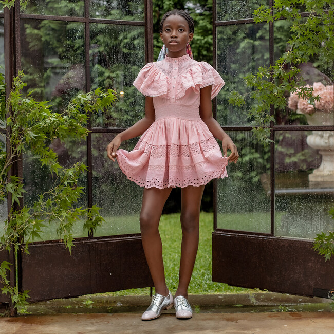 Danielle Lace Trim Cotton Dress, Pink