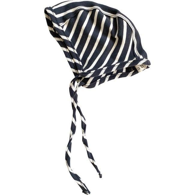 Organic Cotton Bonnet, Charcoal & Natural Stripe