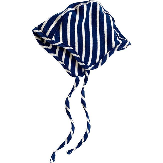 Organic Cotton Bonnet, Blue & Natural Stripe