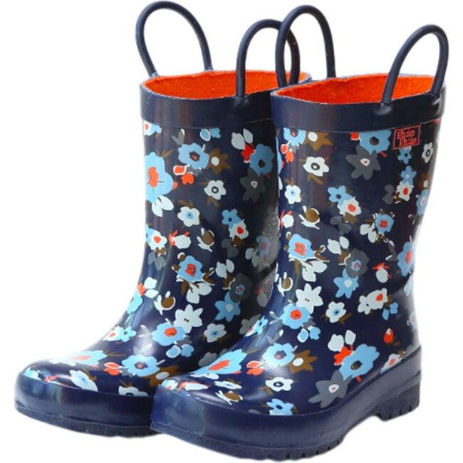 Rain Boots, Navy Flower - Boots - 1