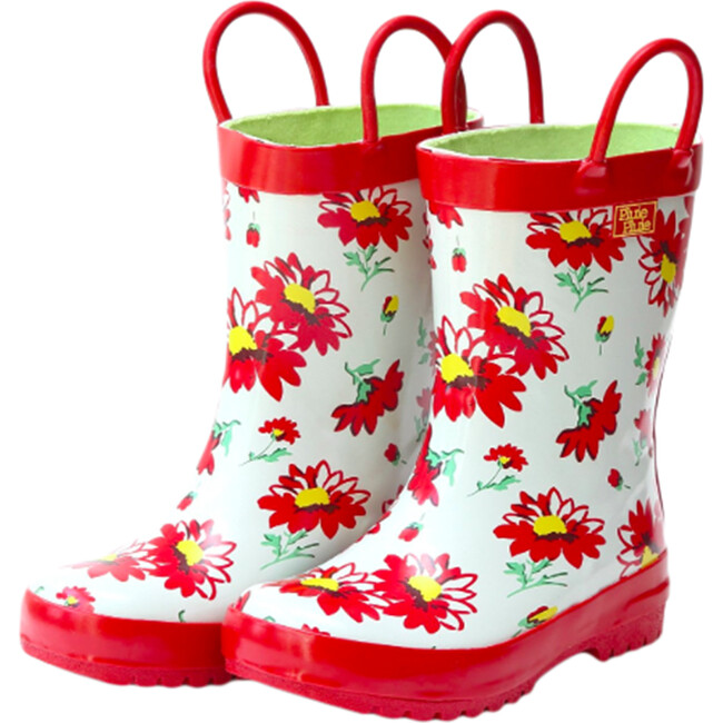 Rain Boots, Red Flower - Boots - 1