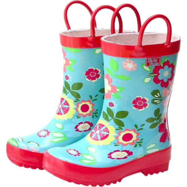 Rain Boots, Blue Floral - Boots - 1