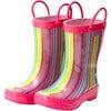 Rain Boots, Pink Stripe - Boots - 1 - thumbnail