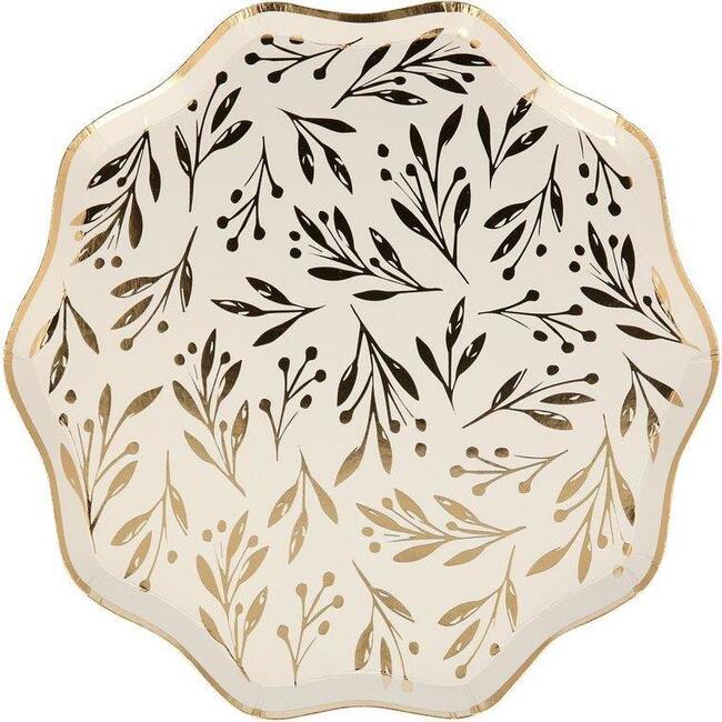 Set of 8 Gold Leaf Side Plates, Gold