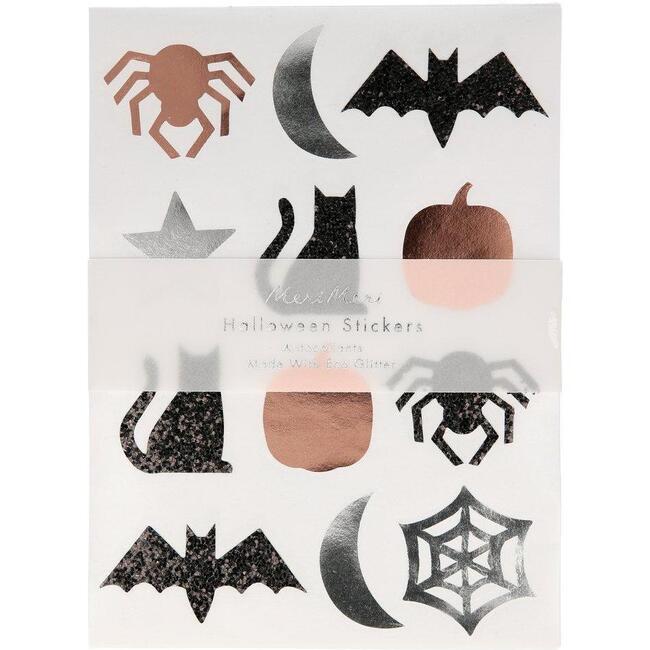 Set of 10 Halloween Sticker Sheets, Orange Multi
