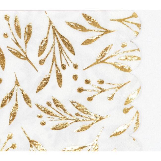 Set of 16 Gold Leaf Small Napkins, Gold