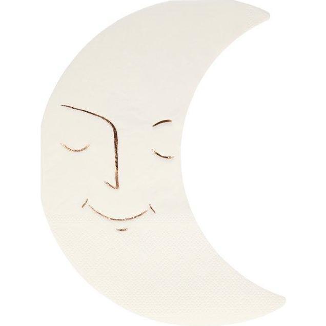 Set of 16 Moon Napkins, Cream