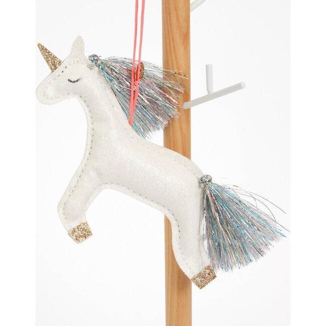 Unicorn Fabric Tree Ornament, White Glitter