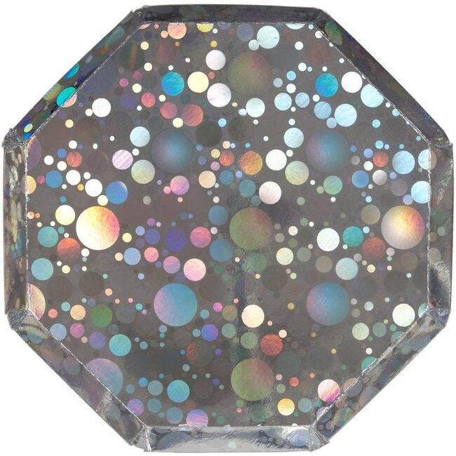 Set of 8 Bubble Side Plates, Holographic Silver