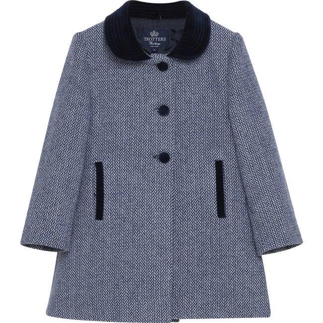Matilda Swing Coat, Navy Herringbone