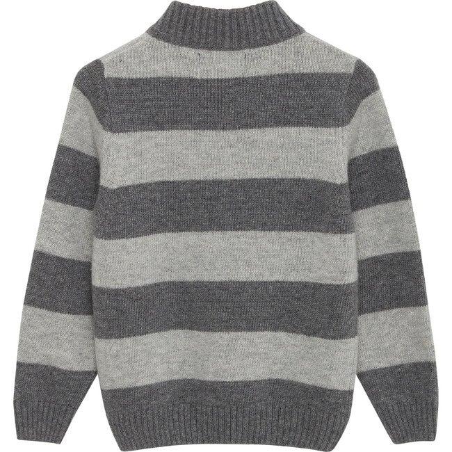 Myles Half Zip, Grey Marl Stripe