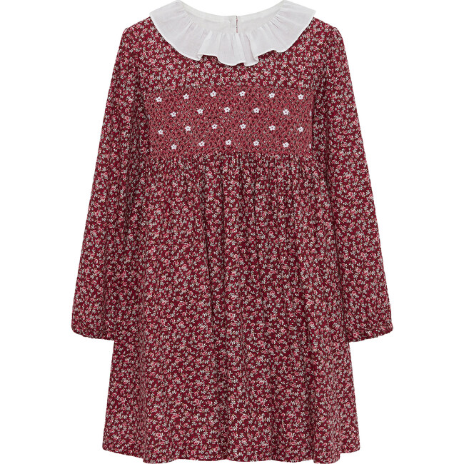 Bonnie Smocked Dress, Cranberry Floral