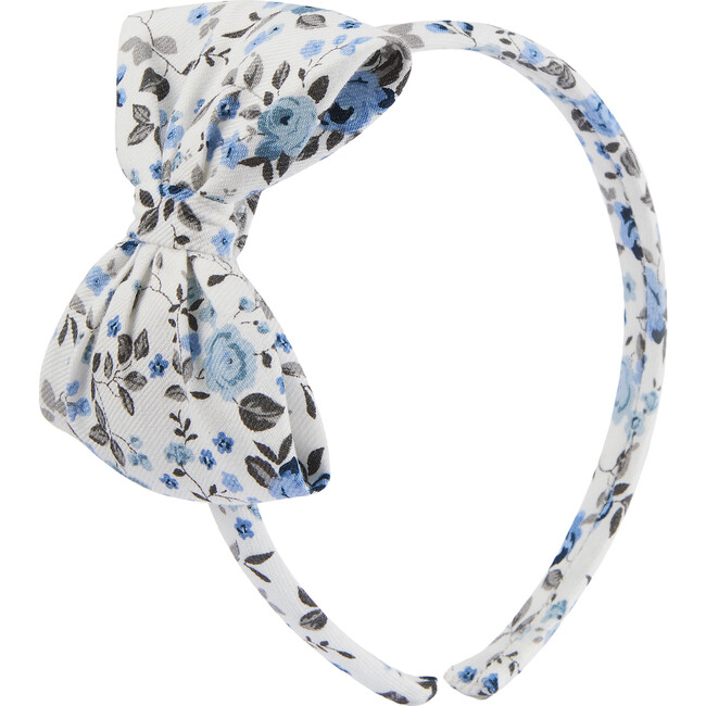 Arabella Bow Headband, Blue Floral