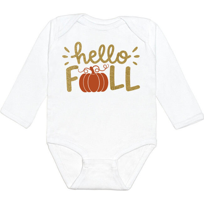 Hello Fall L/S Bodysuit, White