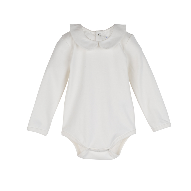 Remy Long Sleeve Collar Bodysuit, White with White Collar