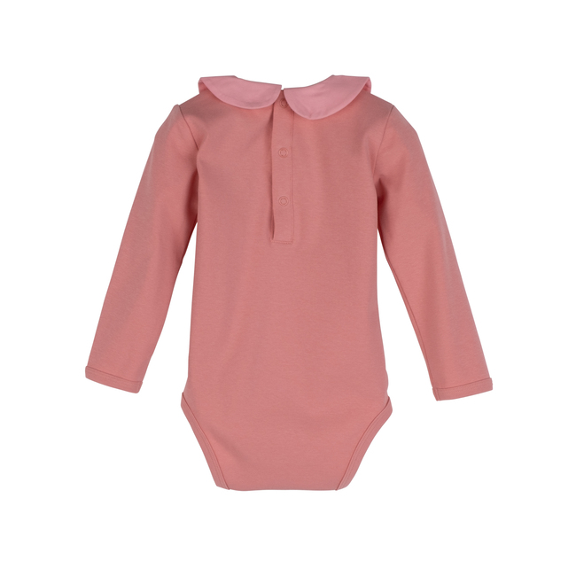 Baby Remy Long Sleeve Collar Bodysuit, Pink with Light Pink Collar
