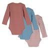 Reagan Long Sleeve Bodysuit Trio, Rose & Dusty Blue Multi - Onesies - 2