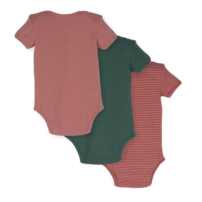 Perry Short Sleeve Bodysuit Trio, Rose & Sage Multi