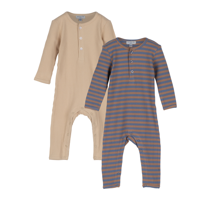 Baby Lewis Coverall Duo, Natural Multi