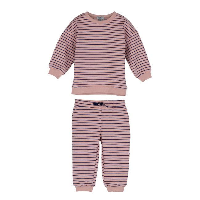 Baby Jones Sweat Set, Pink & Navy Stripe - Mixed Apparel Set - 1
