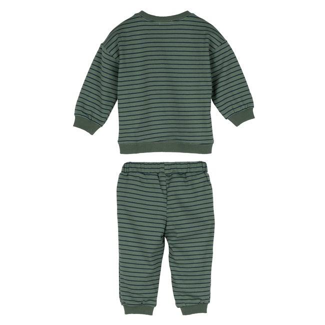 Baby Jones Sweat Set, Sage & Navy Stripe