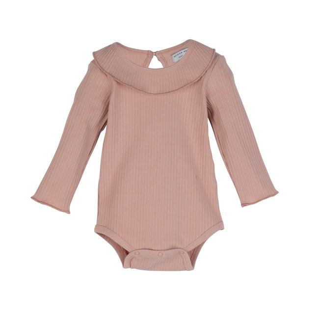 Elsie Ruffle Neck Bodysuit, Pink