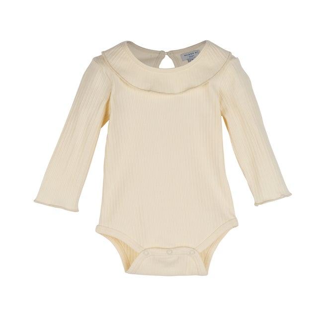 Baby Elsie Ruffle Neck Bodysuit, Cream