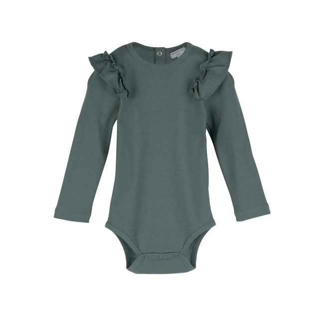 Edena Long Sleeve Ruffle Shoulder Bodysuit, Sage