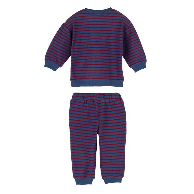 Fuzzy Jones Sweat Set, Navy & Red Stripe