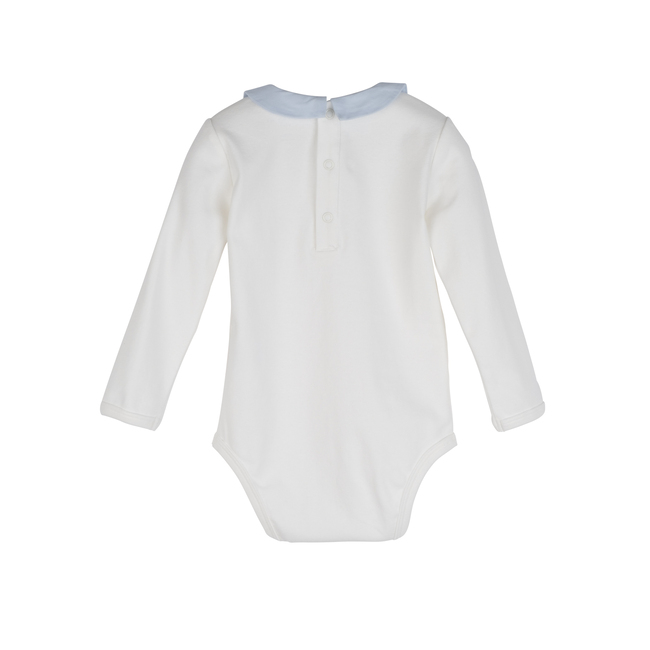 Syd Long Sleeve Pointed Collar Bodysuit, White with Blue Collar