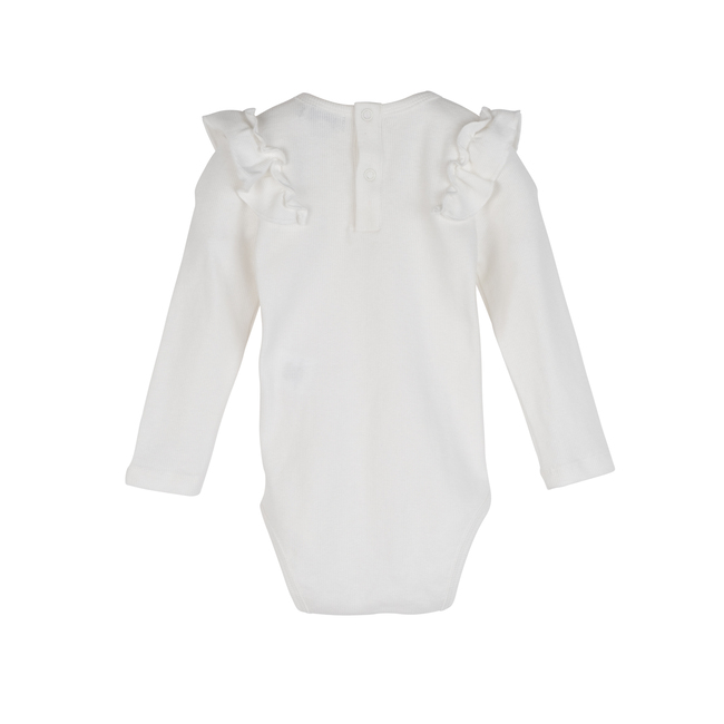 Edena Long Sleeve Ruffle Shoulder Bodysuit, Cream