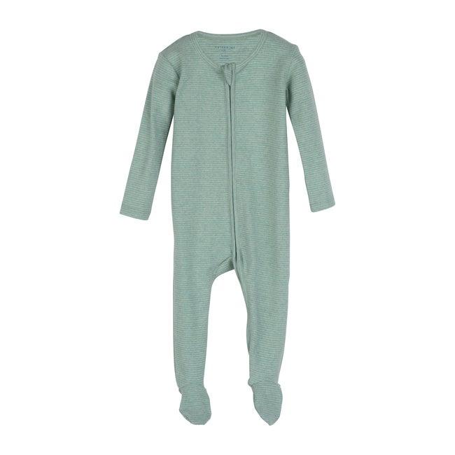 Sawyer Zip Footie Pajama, Sage Stripe