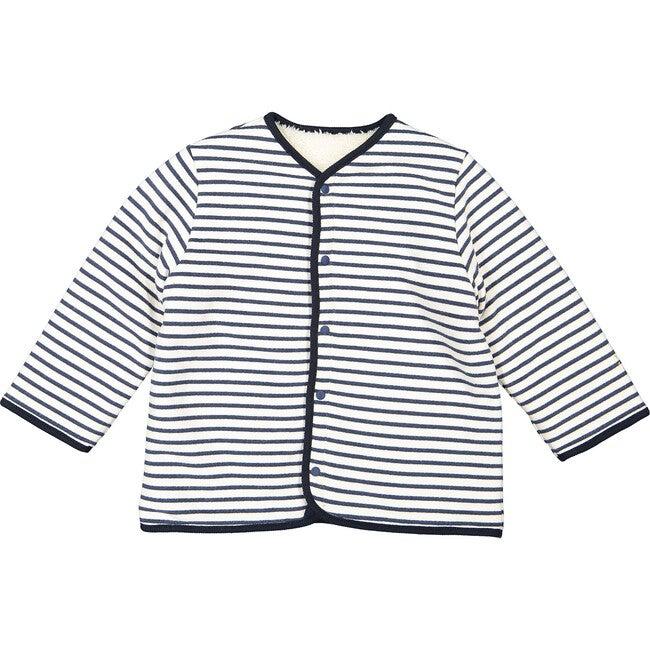 Reversible Quilted Breton Stripes Coat, Cream