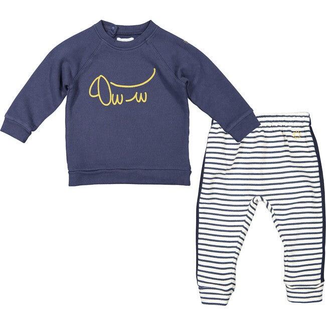 Sausage Dog Sweatshirt and Breton Stripes Joggers, Navy and Cream - Mixed Apparel Set - 1