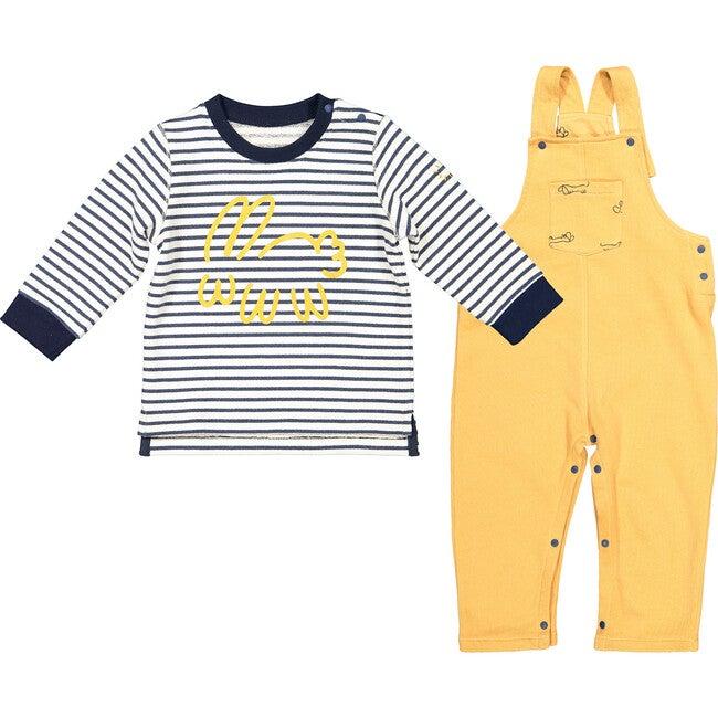 Striped Bunny Sweatshirt and Dungarees, Yellow