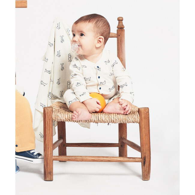 Sausage Dogs Playsuit and Blanket, Cream