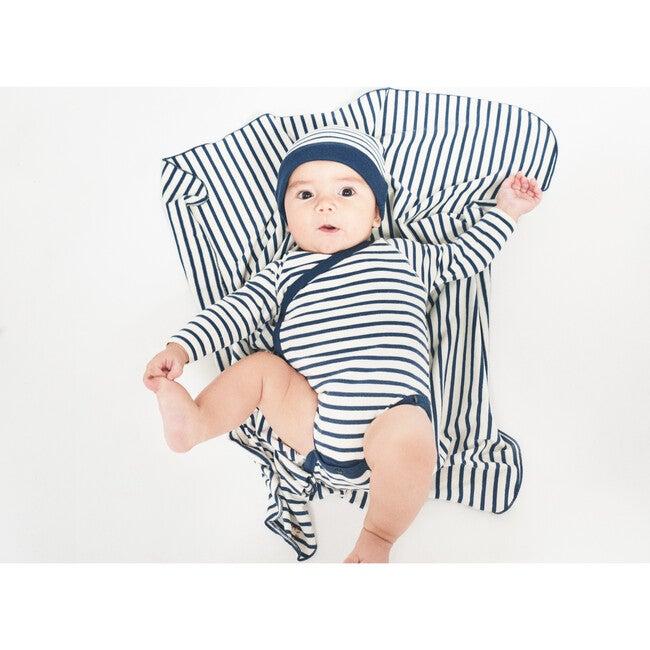 Breton Stripes Bodysuit and Blanket, Navy and Cream