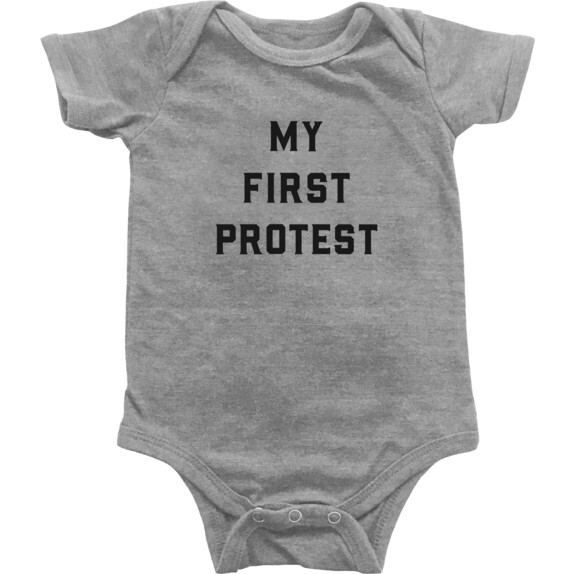 My First Protest Bodysuit, Light Grey