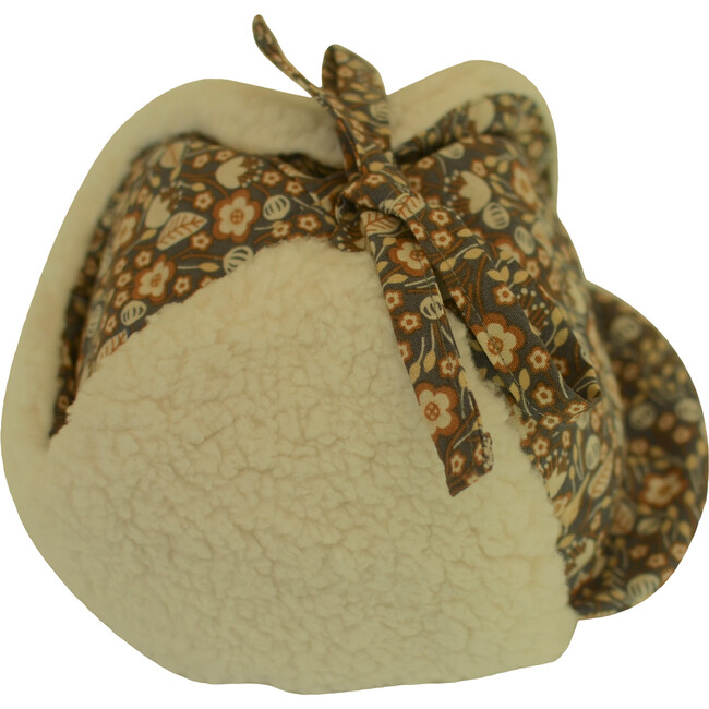 Winter Hat, Harvest Gray Floral with Tie