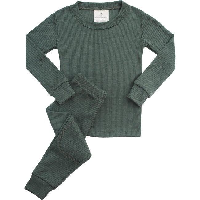Rib Merino Wool Long Johns, Fern