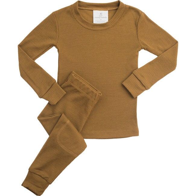 Rib Merino Wool Long Johns, Amber Gold