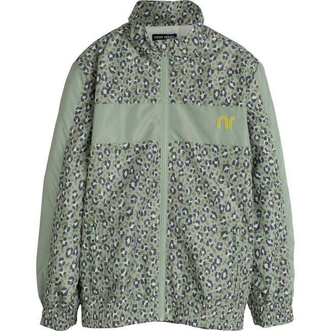 Stevie Track Jacket, Laurel Green Leopard