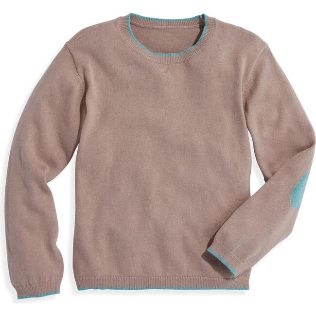 Intarsia Elbow Patch Pullover, Powdered Clay