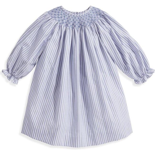 Brussels Smocked Dress, Blue with Light Blue Stripe