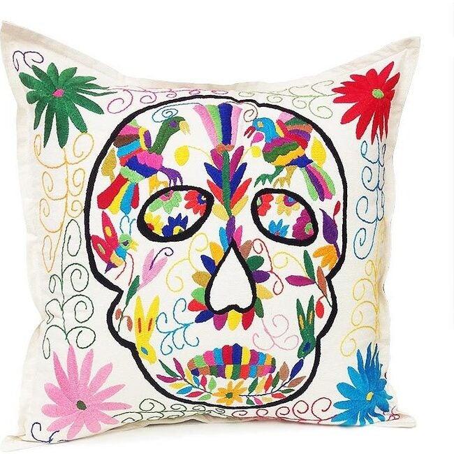 Otomi Skull Pillow, Natural