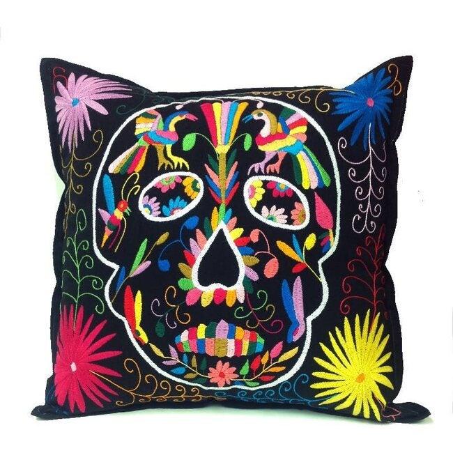 Otomi Skull Pillow, Black